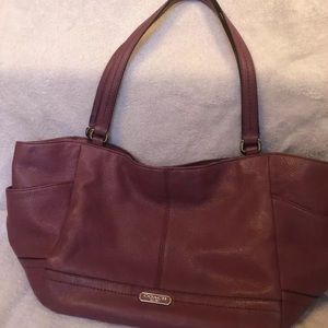 Coach Park Berry Leather Carrie Tote